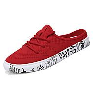 Homens sapatos Tecido Verão Conforto Tamancos e Mules Branco / Preto / Vermelho