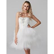 Βραδινή τουαλέτα Καρδιά Κοντό / Μίνι Τούλι Κοκτέιλ Πάρτι Φόρεμα με Χάντρες / Βαθμίδες με TS Couture®