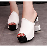 cheap -Women's Shoes PU(Polyurethane) Summer Comfort Sandals Chunky Heel White / Black / Red