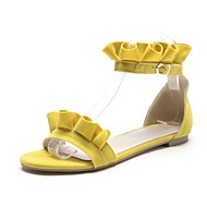 cheap Women's Sandals-Women's Shoes Nubuck leather Summer Ankle Strap Sandals Flat Heel Open Toe Buckle Stitching Lace for Casual Black Orange Yellow Pink