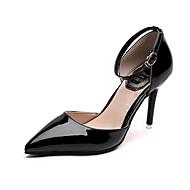 baratos Sapatos Femininos-Mulheres Sapatos Courino Primavera Verão Plataforma Básica Saltos Salto Agulha Dedo Apontado Preto / Prateado / Casamento
