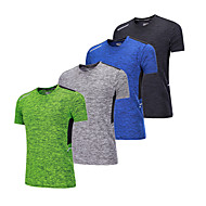 BARBOK Herre Rund hals Grundlag - Grøn, Blå, Grå Sport T-Shirt Kortærmet Sportstøj Letvægt, Hurtigtørrende, Åndbarhed Elastisk