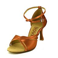 Χαμηλού Κόστους YOVE® Latin Shoes-Γυναικεία Παπούτσια χορού λάτιν / Παπούτσια σάλσα Σατέν / Μετάξι Πέδιλα / Τακούνια Αγκράφα / Κορδέλα Προσαρμοσμένο τακούνι Εξατομικευμένο