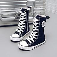 baratos Sapatos de Menina-Para Meninas Sapatos Lona Primavera & Outono Conforto Tênis para Branco / Preto / Vermelho