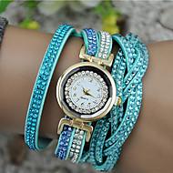Mulheres Bracele Relógio envoltório relógio Quartzo Couro PU Acolchoado Preta / Branco / Azul Relógio Casual Analógico senhoras Brilhante Fashion - Rosa Marron Azul Claro