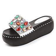 cheap -Women's PU(Polyurethane) Summer Comfort Slippers & Flip-Flops Flat Heel Black / Silver