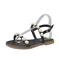 Mulheres Sapatos Couro Ecológico Verão Conforto Sandálias Sem Salto Dedo Aberto Pérolas Sintéticas Preto / Verde / Rosa claro