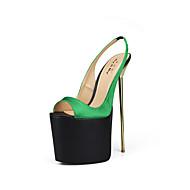 baratos Sapatos Femininos-Mulheres Sapatos Seda Verão Plataforma Básica Sandálias Salto Agulha Peep Toe Vermelho / Verde / Azul Claro / Festas & Noite