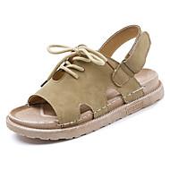 abordables Zapatos y Bolsos-Mujer Zapatos Tejido Verano Confort Sandalias Media plataforma Negro / Verde / Caqui / Con Lazo