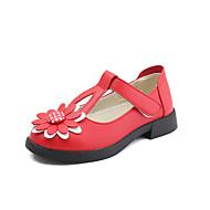tanie Obuwie dziewczęce-Dla dziewczynek Obuwie Derma / PU Lato Comfort / Buty dla małych druhen Buty płaskie Spacery Tasiemka na Dzieci / Brzdąc Black / Czerwony