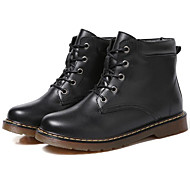 baratos Sapatos Femininos-Mulheres Sapatos Pele Outono & inverno Curta / Ankle / Coturnos Botas Sem Salto Botas Curtas / Ankle Preto