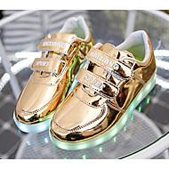 Недорогие Shoes Trends-Мальчики Обувь Полиуретан Весна лето Удобная обувь / Обувь с подсветкой Кеды для Золотой / Серебряный