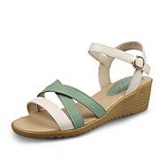 baratos Sapatos Femininos-Mulheres Sapatos Courino Verão Conforto / Chanel Sandálias Salto Plataforma Ponta Redonda Amarelo / Verde