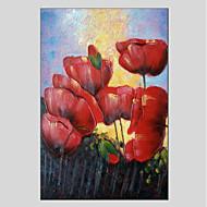 billiga Väggkonst-Hang målad oljemålning HANDMÅLAD - Blommig / Botanisk Moderna Duk
