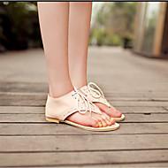 baratos Sapatos Femininos-Mulheres Sapatos Couro Ecológico Verão Conforto / Inovador Sandálias Sem Salto Ponteira Presilha Branco / Preto / Rosa claro / Com Laço