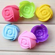 billige Bakeredskap-7cm rose blomst silikon kake mold sjokolade pudding cupcake bakeware