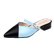 baratos Sapatos Femininos-Mulheres Sapatos Couro Ecológico Verão Conforto Sandálias Caminhada Salto Baixo Dedo Apontado Branco / Azul Claro