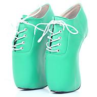 baratos Sapatos Femininos-Mulheres Sapatos Couro Ecológico Primavera Verão Inovador Saltos Calcanhar Heterotípico Ponta Redonda Preto / Verde / Ivory
