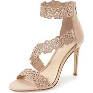 baratos Sapatos Femininos-Mulheres Sapatos Flocagem / Glitter Primavera Verão Tira no Tornozelo Sandálias Salto Agulha Dedo Aberto Pedrarias / Gliter com Brilho
