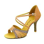 baratos Sapatilhas de Dança-Mulheres Sapatos de Dança Latina / Dança de Salão / Sapatos de Salsa Cetim Sandália Presilha Salto Personalizado Personalizável Sapatos de Dança Amarelo / Fúcsia / Púrpura / Couro / Couro