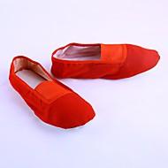 billige Ballettsko-Dame Ballettsko Lerret Flate Kubansk hæl Dansesko Hvit / Svart / Rød / Ytelse / Trening