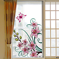 baratos Películas e Adesivos de Janela-Filme de Janelas e Adesivos Decoração Floral Floral PVC Adesivo de Janela Fosco Prova-de-Água