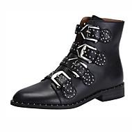 baratos Sapatos Femininos-Unisexo Sapatos Pele Outono & inverno Botas da Moda / Coturnos Botas Salto Baixo Ponta Redonda Botas Curtas / Ankle Tachas / Presilha