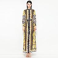 Žene Ulični šik A kroj Haljina Cvjetni print / Leopard Ruska kragna Maxi