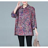 Mulheres Camisa Social Básico Geométrica