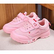 Pige Sko PU Forår Komfort Sneakers for Hvid / Sort / Lys pink