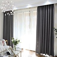 cheap Curtains & Drapes-Blackout Curtains Drapes Bedroom Solid Colored Polyester Blend Yarn Dyed