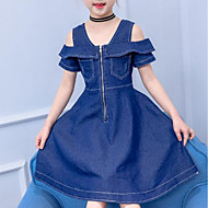 Kids Girls' Active / Sweet Daily / Going out Solid Colored Pleated Short Sleeve Midi Cotton / Polyester Dress Blue