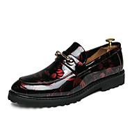 tanie Obuwie męskie-Męskie Oksfordki z nadrukiem PU Jesień Mokasyny i buty wsuwane Czarny / Czerwony / Niebieski