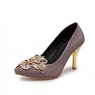 baratos Sapatos Femininos-Mulheres Sapatos Courino Outono Conforto / Inovador Saltos Salto Agulha Dedo Apontado Pedrarias Dourado / Roxo / Vermelho