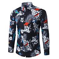 男性用 ワーク プラスサイズ シャツ ビジネス / ボヘミアン フラワー コットン ブラック XXXXL / 長袖