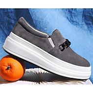 baratos Sapatos Femininos-Mulheres Sapatos Pele Nobuck Outono Conforto Mocassins e Slip-Ons Creepers Cinzento Claro / Rosa claro