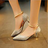 Mujer Zapatos PU Verano Confort Tacones Tacón Bajo Dorado / Negro / Plata