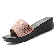 Γυναικεία PU Καλοκαίρι Ανατομικό Παντόφλες   flip-flops Χαμηλό τακούνι  Στρογγυλή Μύτη Τεχνητό διαμάντι Χρυσό   Μαύρο 8e34f3793c1