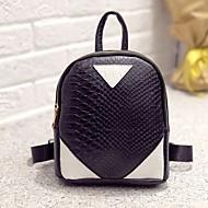 女性用 バッグ PU バックパック ジッパー 幾何学模様 ホワイト / ブラック