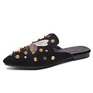 Χαμηλού Κόστους Γυναικεία Τσόκαρα & Μιουλ-Γυναικεία Παπούτσια PU Καλοκαίρι Ανατομικό Σαμπό & Mules Περπάτημα Επίπεδο Τακούνι Μυτερή Μύτη Μαύρο / Χακί