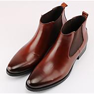 baratos Sapatos Masculinos-Homens Curta/Ankle Pele Inverno Botas Preto / Marron