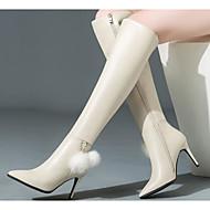 baratos Sapatos Femininos-Mulheres Sapatos Pele Napa / Pele Inverno Botas da Moda Botas Salto Agulha Botas Acima do Joelho Preto / Bege
