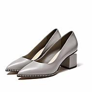 baratos Sapatos Femininos-Mulheres Sapatos Pele Napa / Pele Primavera / Outono Conforto / Plataforma Básica Saltos Salto Robusto Preto / Cinzento Claro