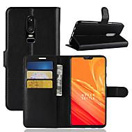 billiga Mobil cases & Skärmskydd-fodral Till OnePlus OnePlus 6 / OnePlus 5T Korthållare / Plånbok / Lucka Fodral Enfärgad Hårt PU läder för OnePlus 6 / One Plus 5 /