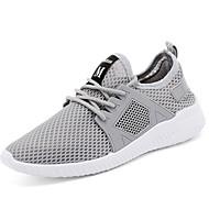 Homens sapatos Tricô / Tule Verão Conforto Tênis Branco / Preto / Cinzento