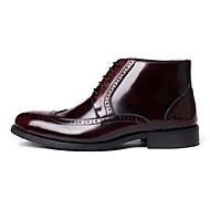 baratos Sapatos Masculinos-Homens Coturnos Couro Inverno Botas Botas Curtas / Ankle Preto / Vinho