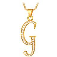 Herre Kvadratisk Zirconium Halskædevedhæng - Alfabetformet, Bogstaver Mode Guld, Sølv 55 cm Halskæder Til Gave, Daglig