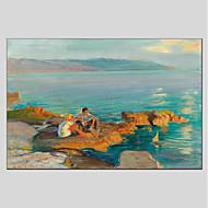 billiga Människomålningar-Hang målad oljemålning HANDMÅLAD - Landskap Människor Moderna Duk