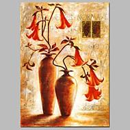 billiga Blom-/växtmålningar-Hang målad oljemålning HANDMÅLAD - Stilleben Blommig / Botanisk Moderna Duk
