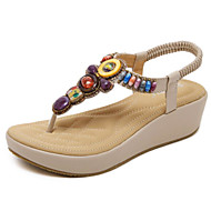 baratos Sapatos Femininos-Mulheres Sapatos Couro Ecológico Verão Conforto Sandálias Salto Plataforma Preto / Amêndoa / Calcanhares